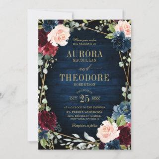 Burgundy Navy Blush Floral Gold Geometric Wedding Invitation