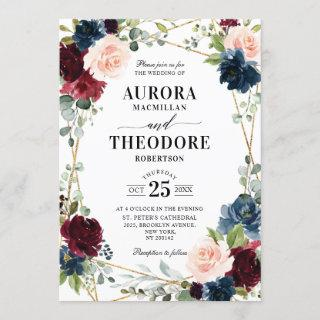 Burgundy Navy Blush Floral Gold Geometric Wedding Invitations