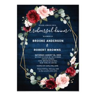 Burgundy Navy Blush Geometric Rehearsal Dinner Invitations
