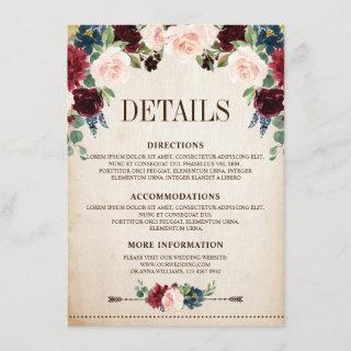 Burgundy Navy Floral Rustic Boho Country Wedding Enclosure Card