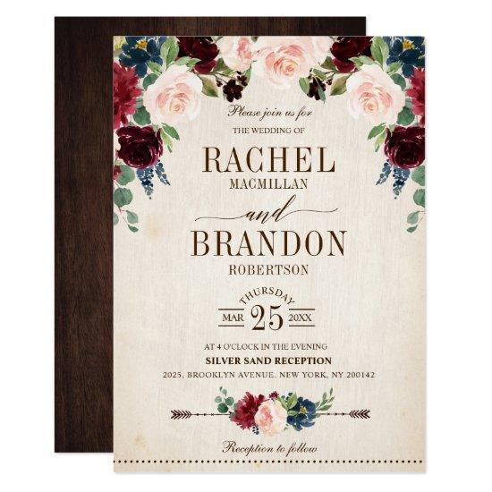 Burgundy Navy Floral Rustic Boho Country Wedding Invitations