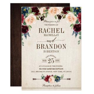 Burgundy Navy Floral Rustic Boho Country Wedding Invitation
