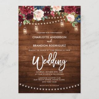 Burgundy Navy Floral Rustic String Light Wedding Invitations