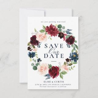 burgundy navy floral save the date card