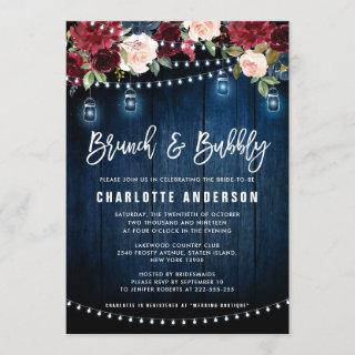 Burgundy Navy Floral String Light Brunch & Bubbly Invitations