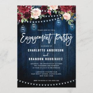 Burgundy Navy Floral String Light Engagement Party Invitations