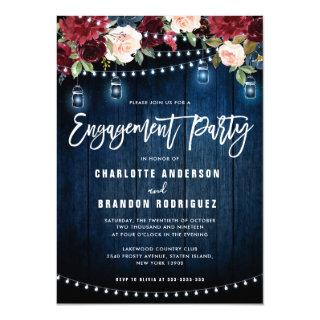 Burgundy Navy Floral String Light Engagement Party Invitation