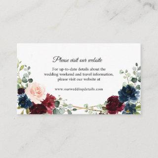 Burgundy Navy Geometric Wedding Website details Enclosure Card