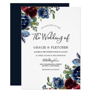 Burgundy & Navy Indigo Flowers Autumn Wedding Invitation