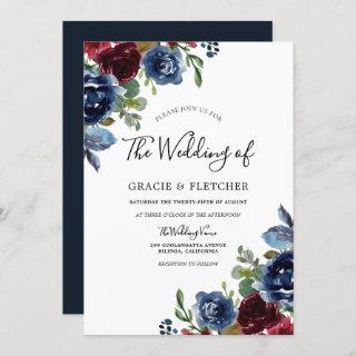 Burgundy & Navy Indigo Flowers Autumn Wedding Invitations