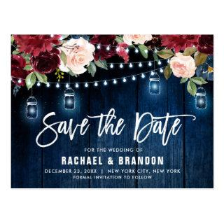 Burgundy Navy String Light mason jar Save the Date Postcard