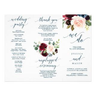 Burgundy Navy Tri-Fold Wedding Program