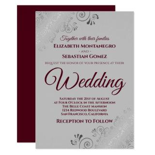 Burgundy on Gray with Lacy Silver Frills Wedding Invitations