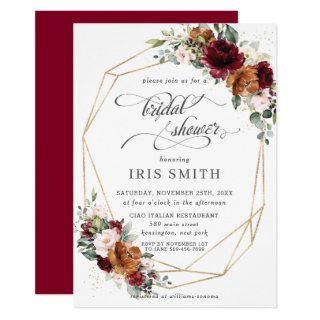 Burgundy Orange Floral Bridal Shower Geometric Invitations