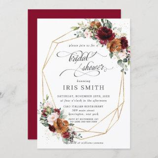Burgundy Orange Floral Bridal Shower Geometric Invitation