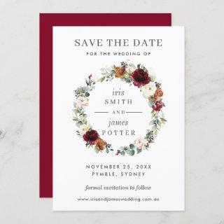 Burgundy Orange Floral Wedding Save the Date Card