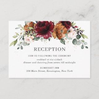 Burgundy Orange Ivory Floral Wedding Reception Enclosure Card