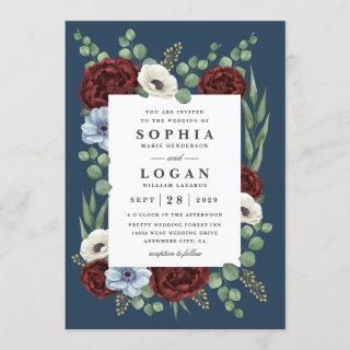 Burgundy Peony Dusty Blue Anemone Floral Wedding Invitations