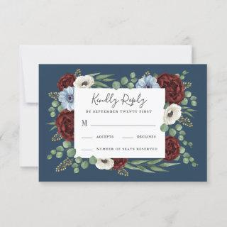 Burgundy Peony Dusty Blue Anemone Floral Wedding RSVP Card