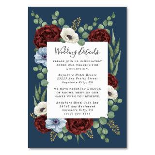 Burgundy Peony Dusty Blue Wedding Enclosure Cards
