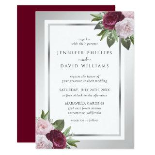 Burgundy Pink and Silver Floral Wedding Invitation