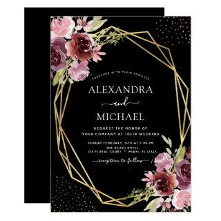 Burgundy Pink Modern Geometric Floral Wedding Invitations