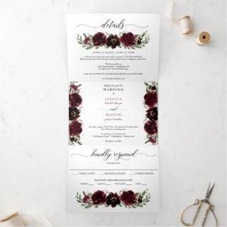 Burgundy Pumpkin Fall Wedding Tri-Fold Invitations
