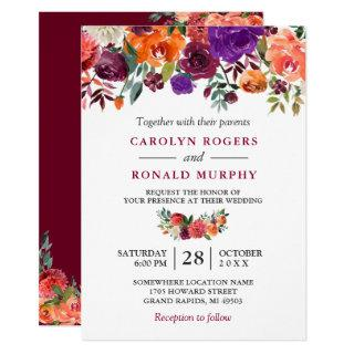 Burgundy Purple Orange Red Floral Wedding Invitations