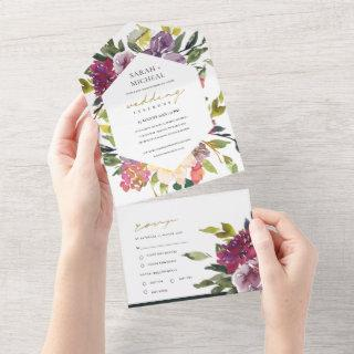 BURGUNDY PURPLE PINK LIME GREEN FLORAL WEDDING ALL ALL IN ONE