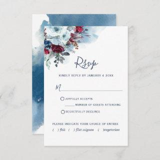 Burgundy Red and Blue Floral and Watercolor  RSVP Card