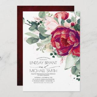 Burgundy Red and Blush Floral Elegant Boho Wedding Invitation