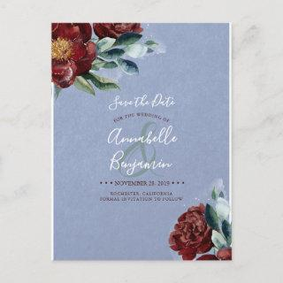 Burgundy Red and Dusty Blue Floral Save the Date Announcement Postcard