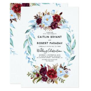 Burgundy Red and Dusty Blue Floral Wedding Invitation