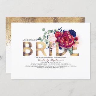 Burgundy Red and Navy Blue Floral Bridal Shower Invitations