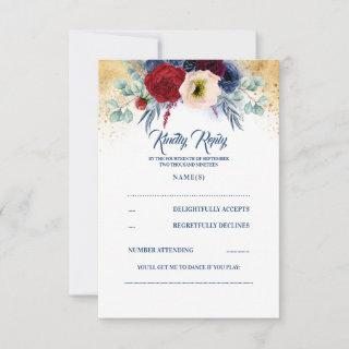 Burgundy Red and Navy Blue Nautical Wedding RSVP