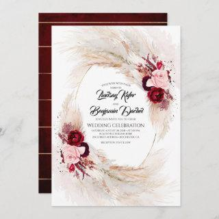 Burgundy Red and Pink Floral Pampas Grass Wedding Invitations