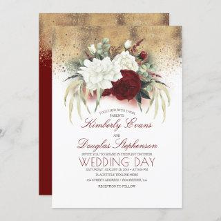 Burgundy Red and White Floral Elegant Wedding Invitations