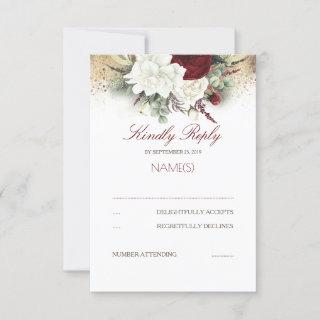 Burgundy Red and White Floral Wedding RSVP