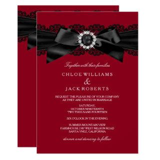 Burgundy Red & Black Pearl Bow Wedding Invite