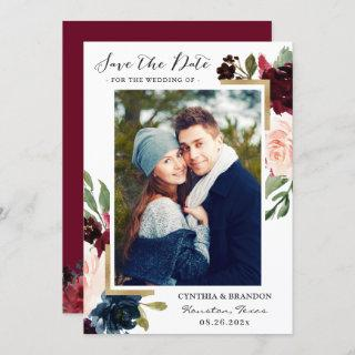 Burgundy Red Blush Blue Floral Gold Photo Save The Date