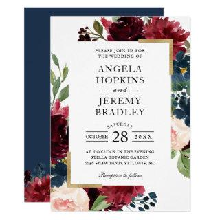 Burgundy Red Blush Floral Navy Blue Gold Wedding Invitations