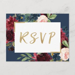 Burgundy Red Blush Floral Navy Blue Wedding RSVP Invitation Postcard