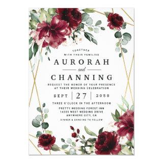 Burgundy Red Blush Gold Geometric Greenery Wedding Invitation