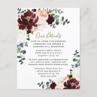 Burgundy Red Blush Pink and Gold Floral Wedding Enclosure Card