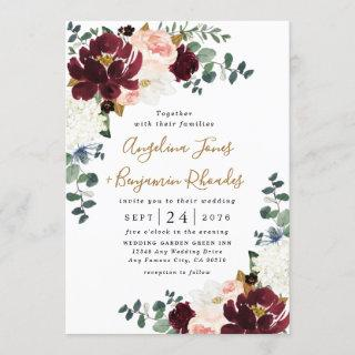 Burgundy Red Blush Pink and Gold Floral Wedding Invitations