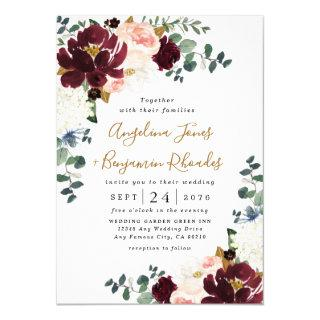 Burgundy Red Blush Pink and Gold Floral Wedding Invitation
