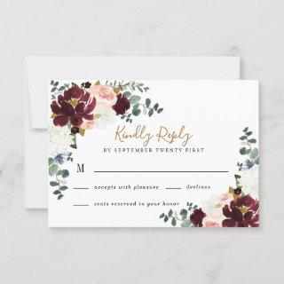 Burgundy Red Blush Pink and Gold Floral Wedding RSVP Card