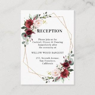 Burgundy Red Floral Geometric Wedding Reception Enclosure Card