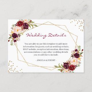 Burgundy Red Floral Gold Geometric Wedding Details Enclosure Card