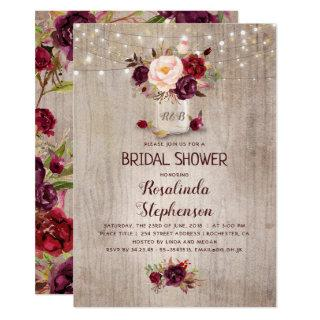 Burgundy Red Floral Mason Jar Rustic Bridal Shower Invitations